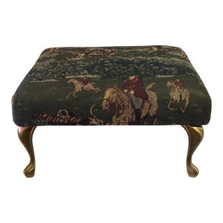 Vintage Foot Stool With Metal Legs and English Hunting Scene Equestrian Style Upholstery Fabric For Sale