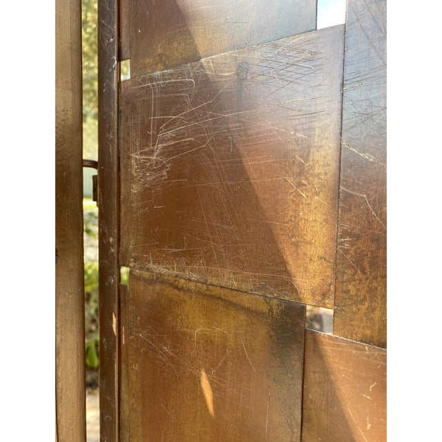 Woven Metal Folding Room Divider Screen 3-Panel For Sale - Image 4 of 11