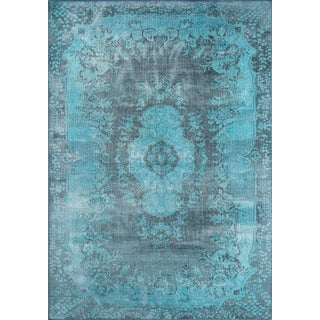 "Traditional Momeni Afshar Polyester Blue Area Rug - 7'6"" X 9'6"" For Sale"