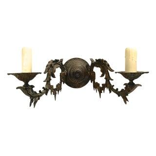 Antique Cast Gilt Bronze Double Light Sconce For Sale