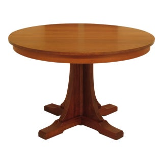 1990s Arts & Crafts Stickley Round Cherry Dining Table For Sale