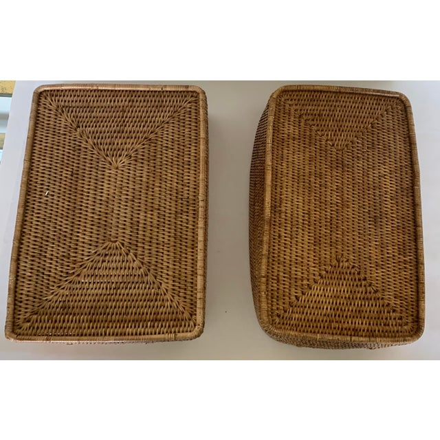 Wood Rattan Woven Baskets - a Pair For Sale - Image 7 of 11