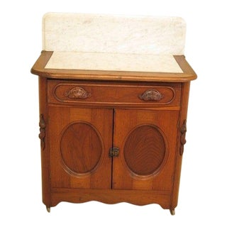 19th Century Victorian Marble Top Walnut 2 Drawer Washstand For Sale