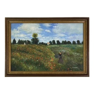 The Poppy Field Painting After Claude Monet By S. Hofner For Sale