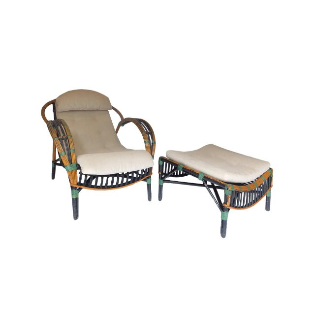 Fantastic twin reed lounge chair and ottoman in original paint. New custom Belgian linen pads with ties. Beautiful surface...