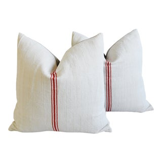 """French Country Triple Red Striped Grain-Sack Feather/Down Pillows 22"""" Square - Pair For Sale"""
