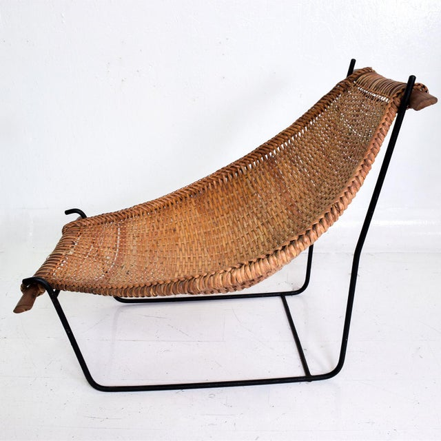 1960s John Risley Wicker & Iron Chair, Mid Century Modern For Sale - Image 5 of 11