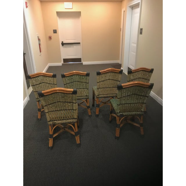 French Grange Stained Rattan and Wood Dining or Patio Chairs -Set of 6 For Sale - Image 3 of 8
