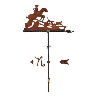 19th C. Equestrian Fox Hunt Weathervane w/ North Directional