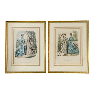 Antique Hand Colored French Fashion Prints - a Pair For Sale