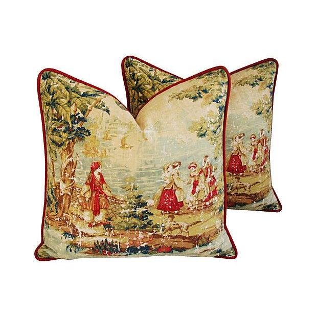 Designer Renaissance Toile Linen Pillows - A Pair - Image 2 of 8
