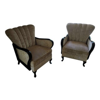 Mid Modern Pair High Gloss Black Lacquer Chairs - A Pair For Sale