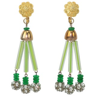 Vintage Green & Gold Floral Earrings With Rhinestone Dangles For Sale