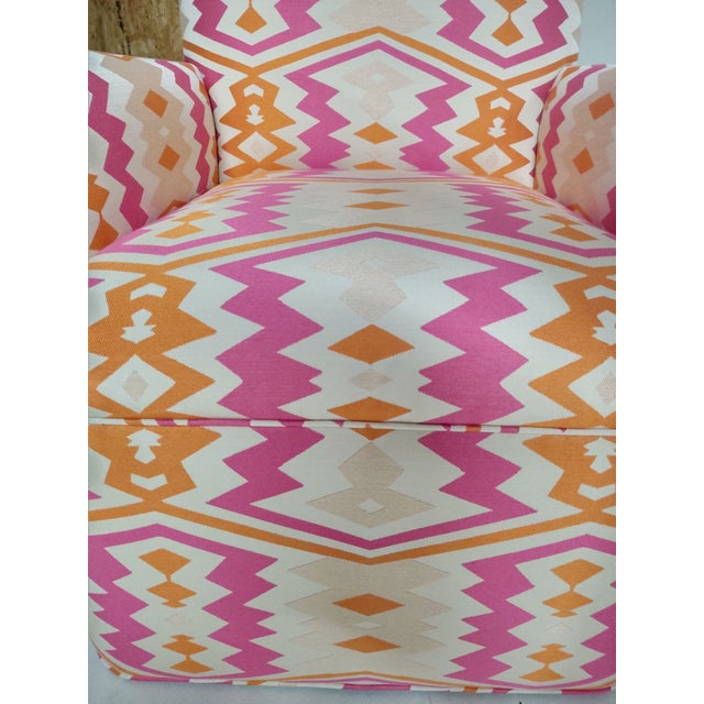 Transform your space with these fabulous, newly upholstered vintage chairs! Meticulously matched upholstery, vibrant pink...