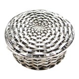 Image of 1960s Traditional Sterling Signed Perita Mexico City Basket Weave Box For Sale
