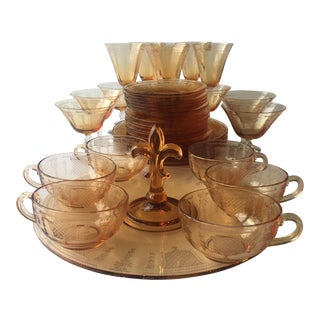 Antique Fleur De Lis Etched Amber Glass Tableware Set - Set of 37 For Sale