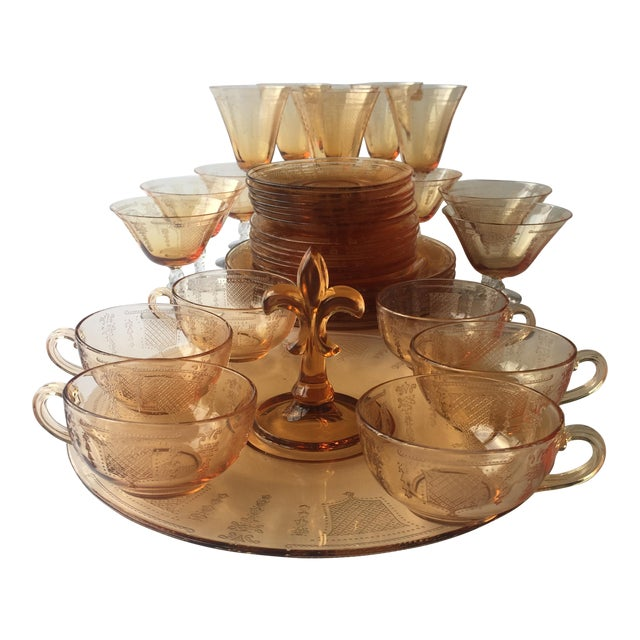 Antique Fleur De Lis Etched Amber Glass Tableware Set - Set of 37 For Sale