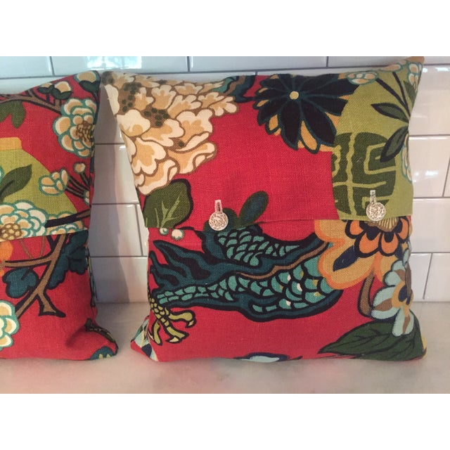 Schumacher Chiang Mai Dragon in Red Pillows - Pair For Sale - Image 5 of 11