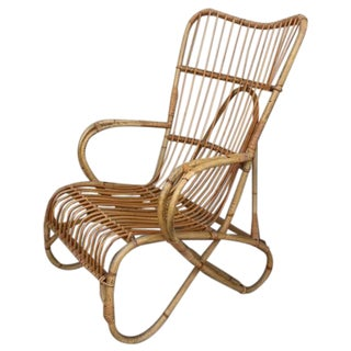 Vintage French Bamboo Armchair For Sale