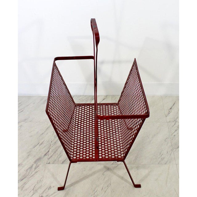 1950s Mid-Century Modern Vintage Red Wire Mesh Magazine Rack For Sale - Image 5 of 8