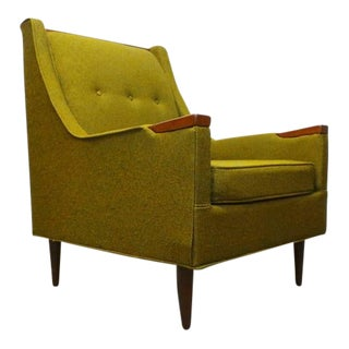 Mid Century Modern Green Tweed & Walnut Trimmed Lounge Chair For Sale