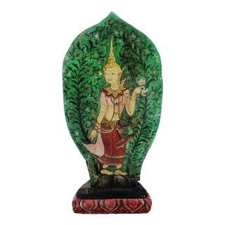 Vintage Thai Buddha Painting on Hand Carved Base