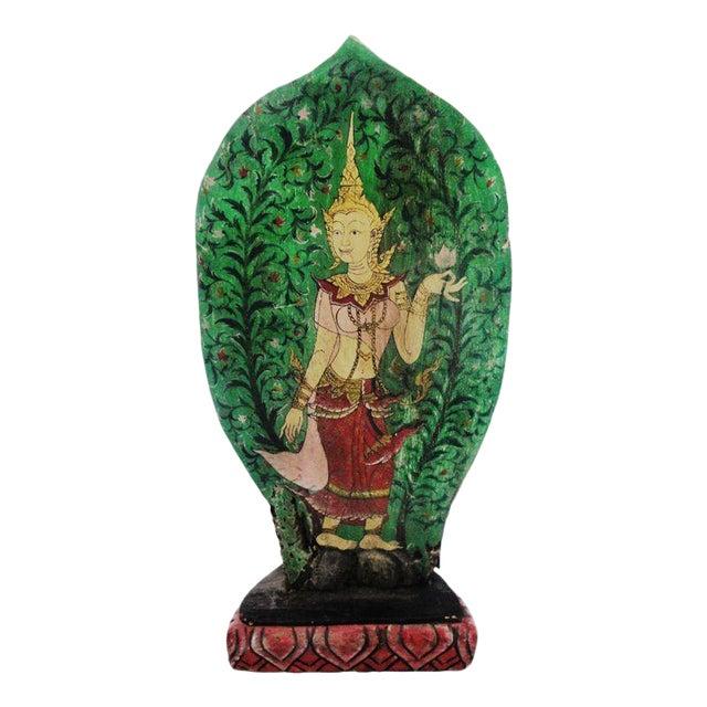 Vintage Thai Buddha Painting on Hand Carved Base - Image 1 of 3