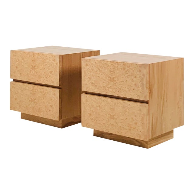 Minimalist 'Amboine' Burl Wood Nightstands by Design Frères - a Pair For Sale