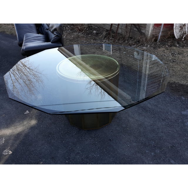 Mastercraft Brass Octagonal Shape Faceted Dining Table For Sale - Image 12 of 13