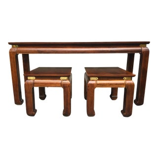 Ming Style Wood Console and Ottomans - 3 Pc. Set For Sale