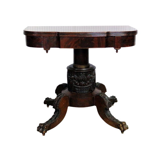 Antique Traditional Duncan Phyfe Style Card Table For Sale