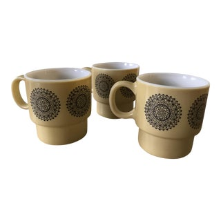 Stackable Milk Glass Coffee Mugs - Set of 3