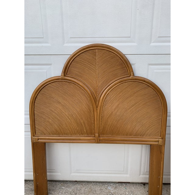 Boho Chic 1970s Split Reed Rattan Twin Headboards in the Manner of Gabriella Crespi - a Pair For Sale - Image 3 of 8
