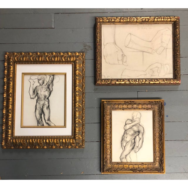 Gallery Wall Collection 3 Original Male Charcoal Studies 1930's For Sale In Philadelphia - Image 6 of 6