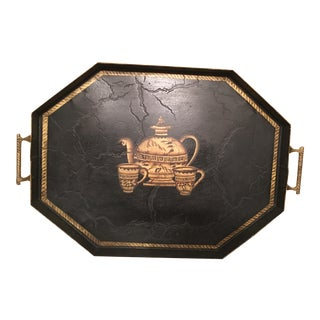 Hand-Painted Tea Cup Design Black Tole Tray For Sale