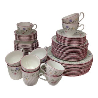 Johnson Brothers England Floral Summer Chintz Pink Dinnerware - 77 Pieces For Sale