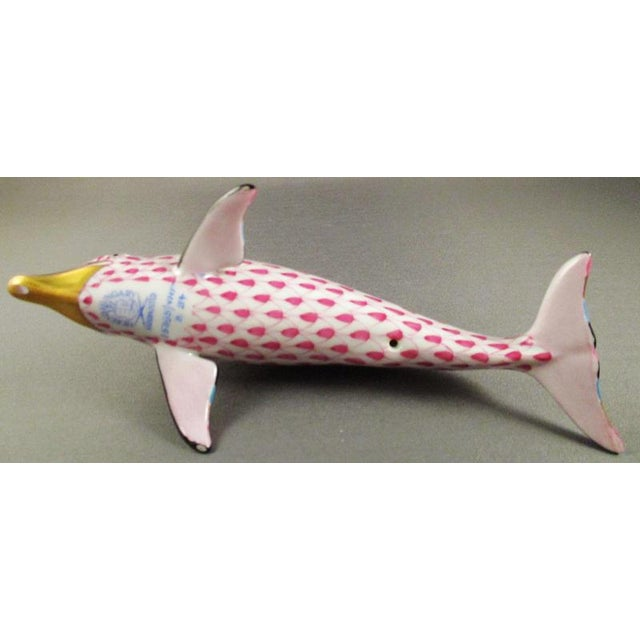 Herend Porcelain Dolphin Raspberry Fishnet Figurine For Sale - Image 9 of 11