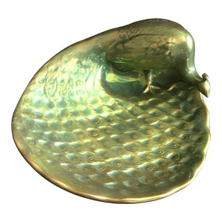 1960's Vintage Zsolnay Hungary Art Deco Green and Gold Eosin Finish Terracotta Peacock Bowl For Sale