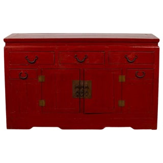 Chinese Antique Red Lacquered Console Cabinet with Drawers and Doors For Sale