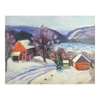 Farm in Winter Painting For Sale