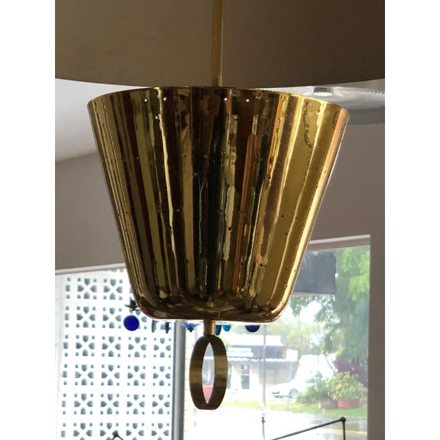 Gold Brass Pendant Adjustable Lamp For Sale - Image 8 of 9