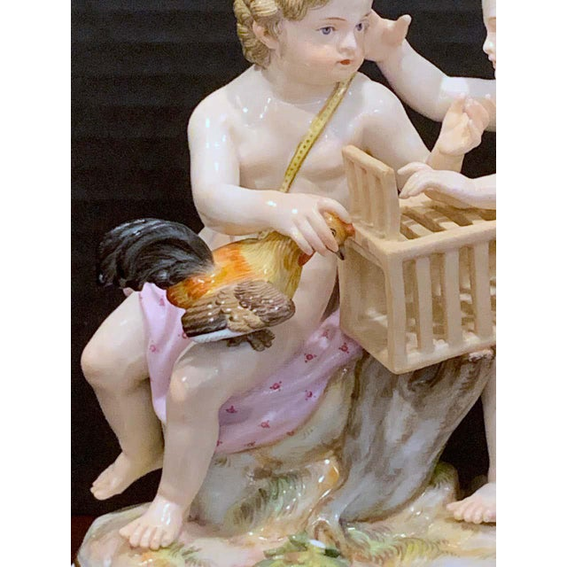 Traditional 19th Century Meissen Grouping of Two Boys With Rooster and Cage For Sale - Image 3 of 11