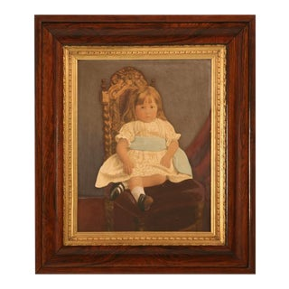 "Original Painting on Board of ""A Girl with Blue Sash Ribbon"" For Sale"