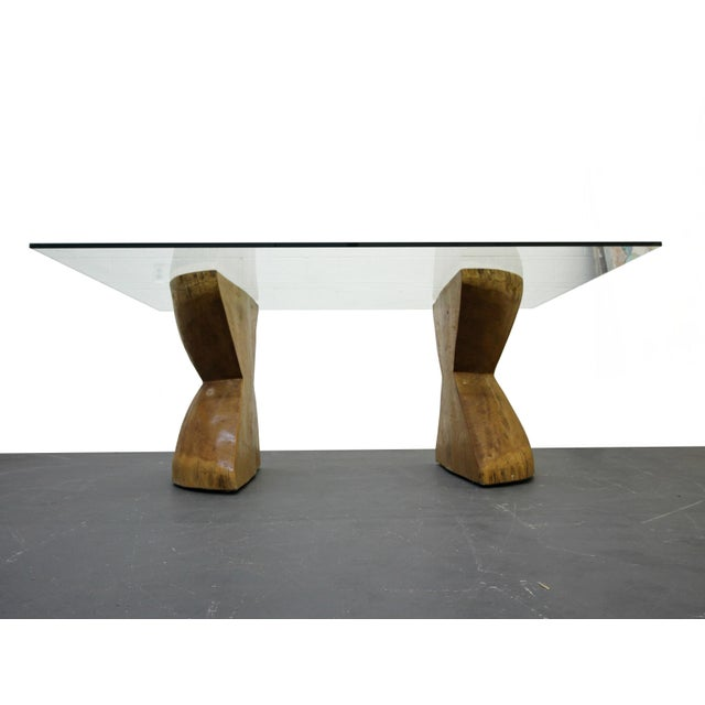 Pair of Raw Live Edge Wood Hourglass Dining Table Pedestals For Sale - Image 5 of 6