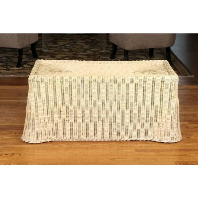 Boho Chic Gorgeous Vintage Glazed Drape Wicker Coffee Table For Sale - Image 3 of 8