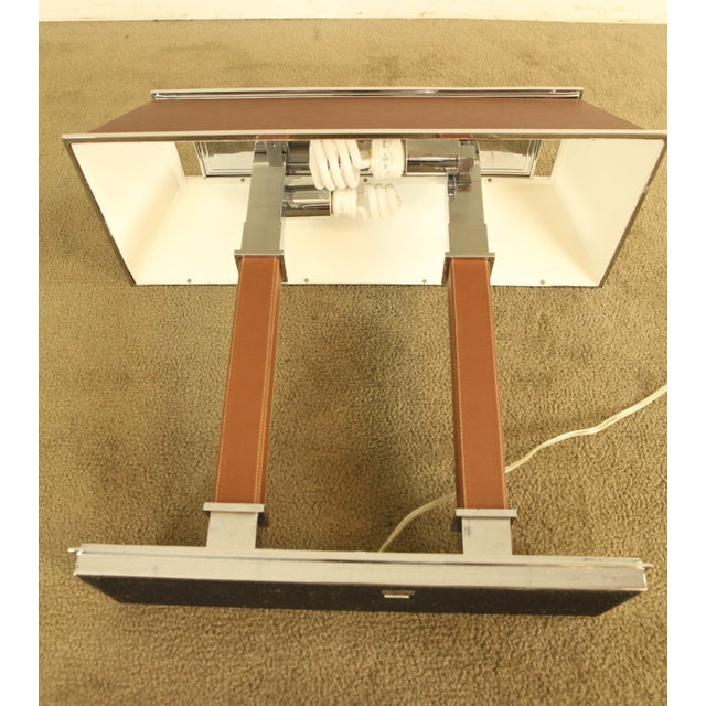 Ralph Lauren Leather & Chrome Double Student Desk Lamp For Sale - Image 10 of 12