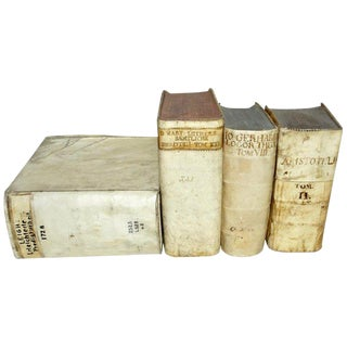 18th Century Collection of Vellum Books - Set of 4 For Sale