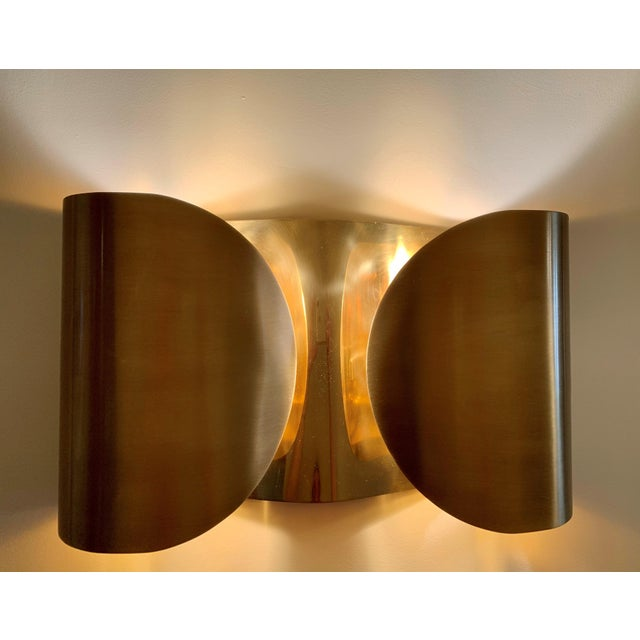 Global Views Mid-Century Modern Folded Brass Sconces - a Pair For Sale - Image 4 of 8