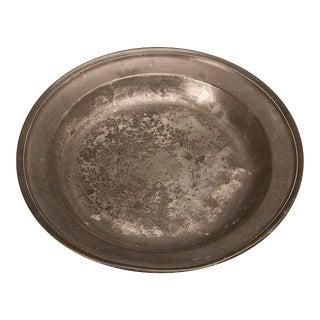 19th Century English Large Flat Bottom Pewter Platter For Sale