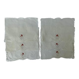Set of 6 Linen Rooster Embroidered Cocktail Napkins For Sale